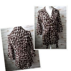 Heart Soul Womens Wrap Jacket Polka Dots Sz Medium